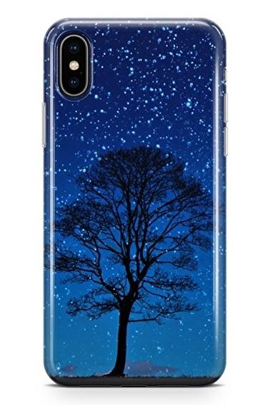 Lopard iPhone Xs Max Kılıf Silikon Arka Kapak Koruyucu Gece Ağacı Desenli Full HD Baskılı Renkli